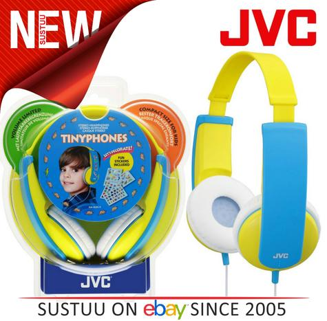 JVC Tiny Phones Kids Stereo Overhead Headphones w/ Volume Limiter - Yellow Thumbnail 1
