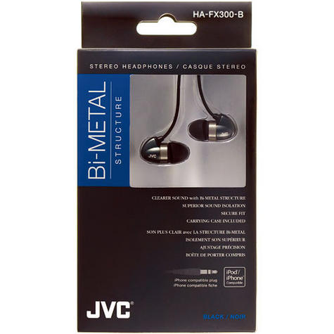 JVC HA-FX300 In-Ear Bi-METAL Headphones For Android Smartphone iPhone iPod BLACK Thumbnail 1