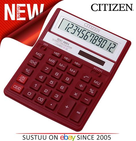 NEW Citizen SDC888XRD Solar & Battery Dual Powered Office Calculator(RED) Thumbnail 2