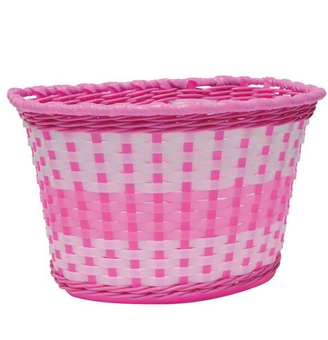 Oxford Junior Girls' Woven Bike Basket - Pink Thumbnail 1