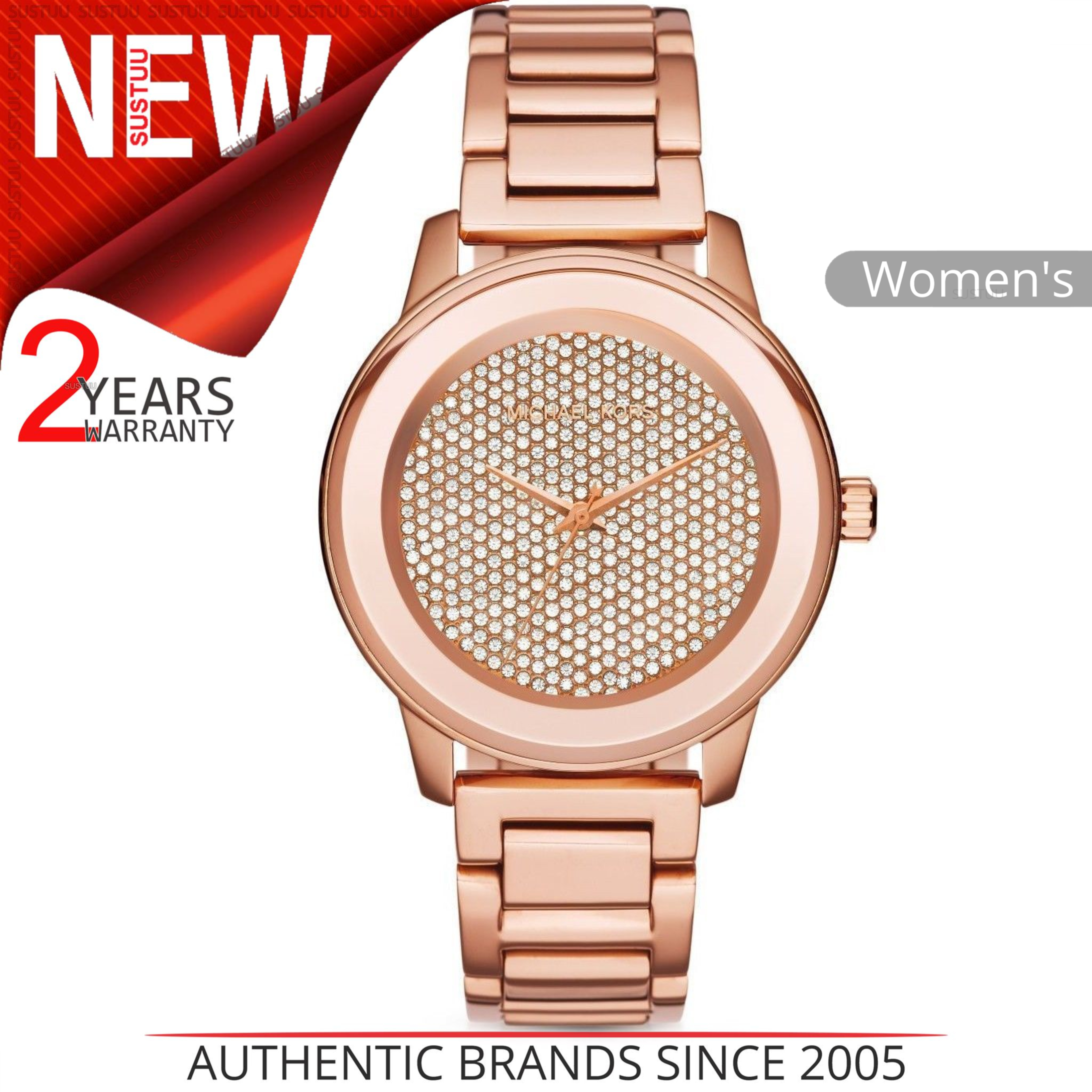 bb6fc10d70121 Details about Michael Kors Kinley Women Watch MK6210│Crystal Pave Rose Gold  Dial│Bracelet Band