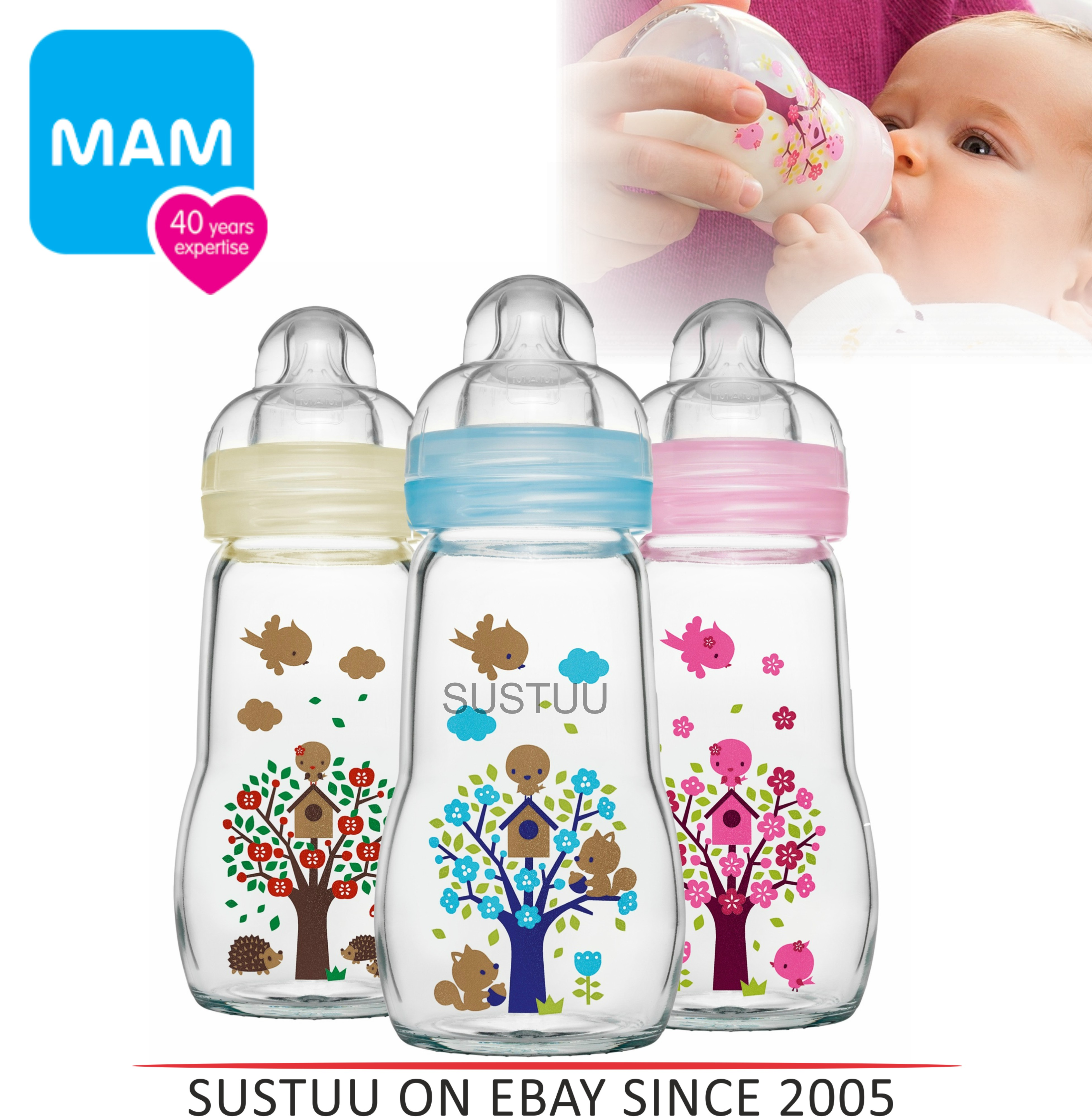 MAM Infant Chemical free Heat Resistant Baby Milk Formula Glass Bottle 260ml