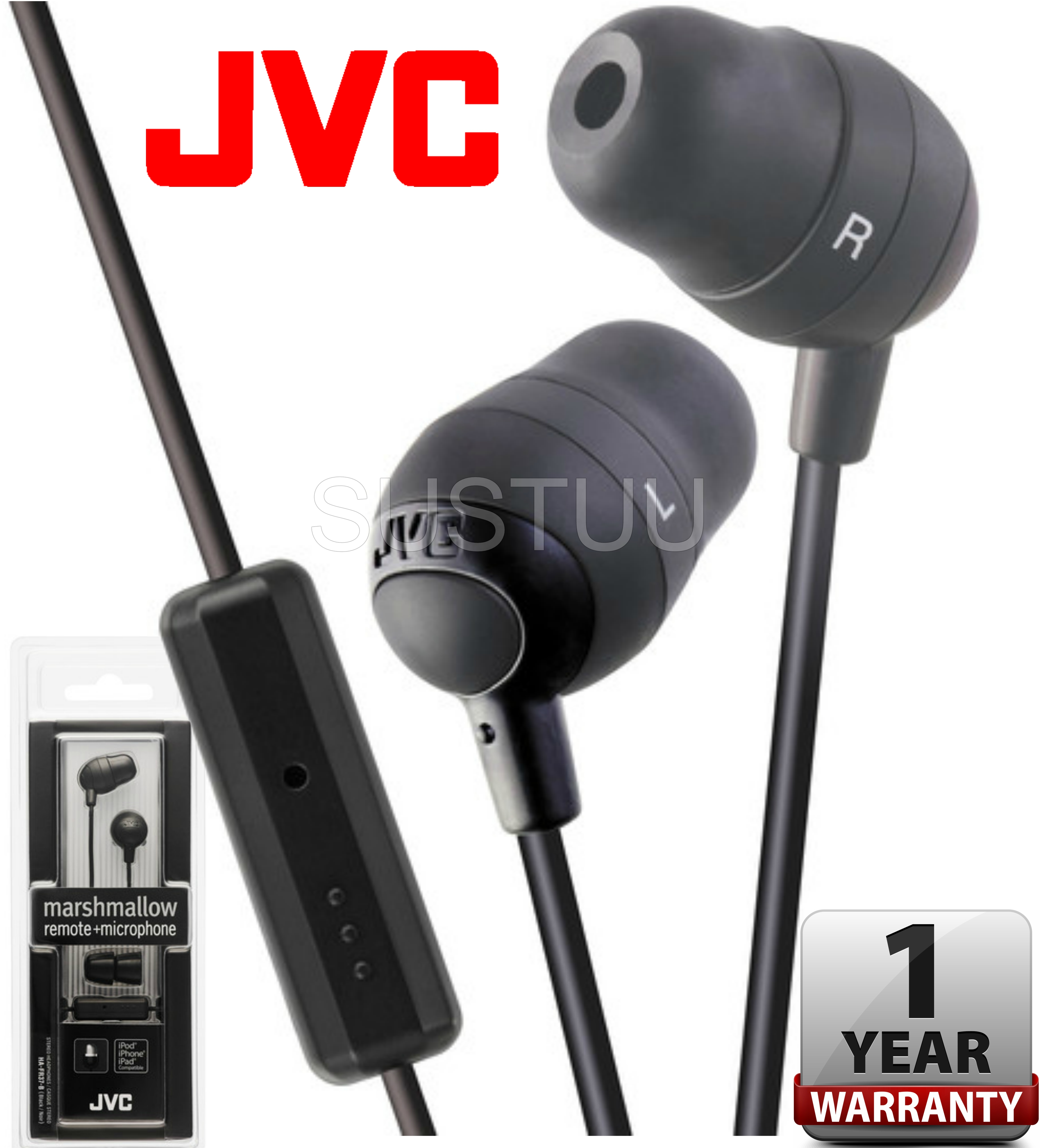 JVC Marshmallow In Ear Earphones Remote + Microphone for iPhone/iPod/iPad BLACK