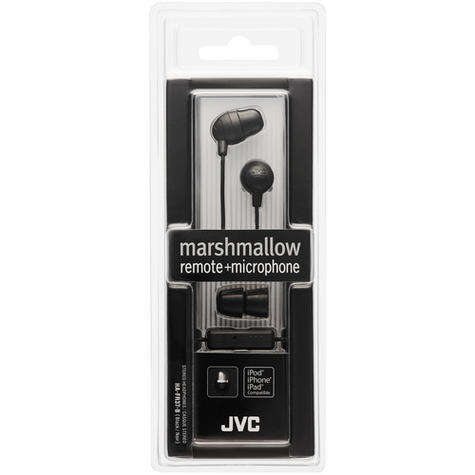 JVC Marshmallow In Ear Earphones Remote + Microphone for iPhone/iPod/iPad BLACK Thumbnail 3