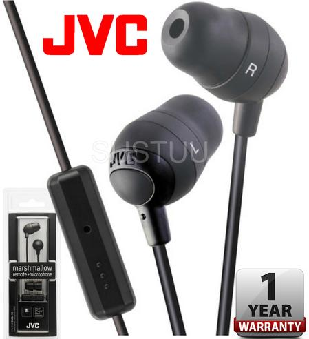 JVC Marshmallow In Ear Earphones Remote + Microphone for iPhone/iPod/iPad BLACK Thumbnail 1