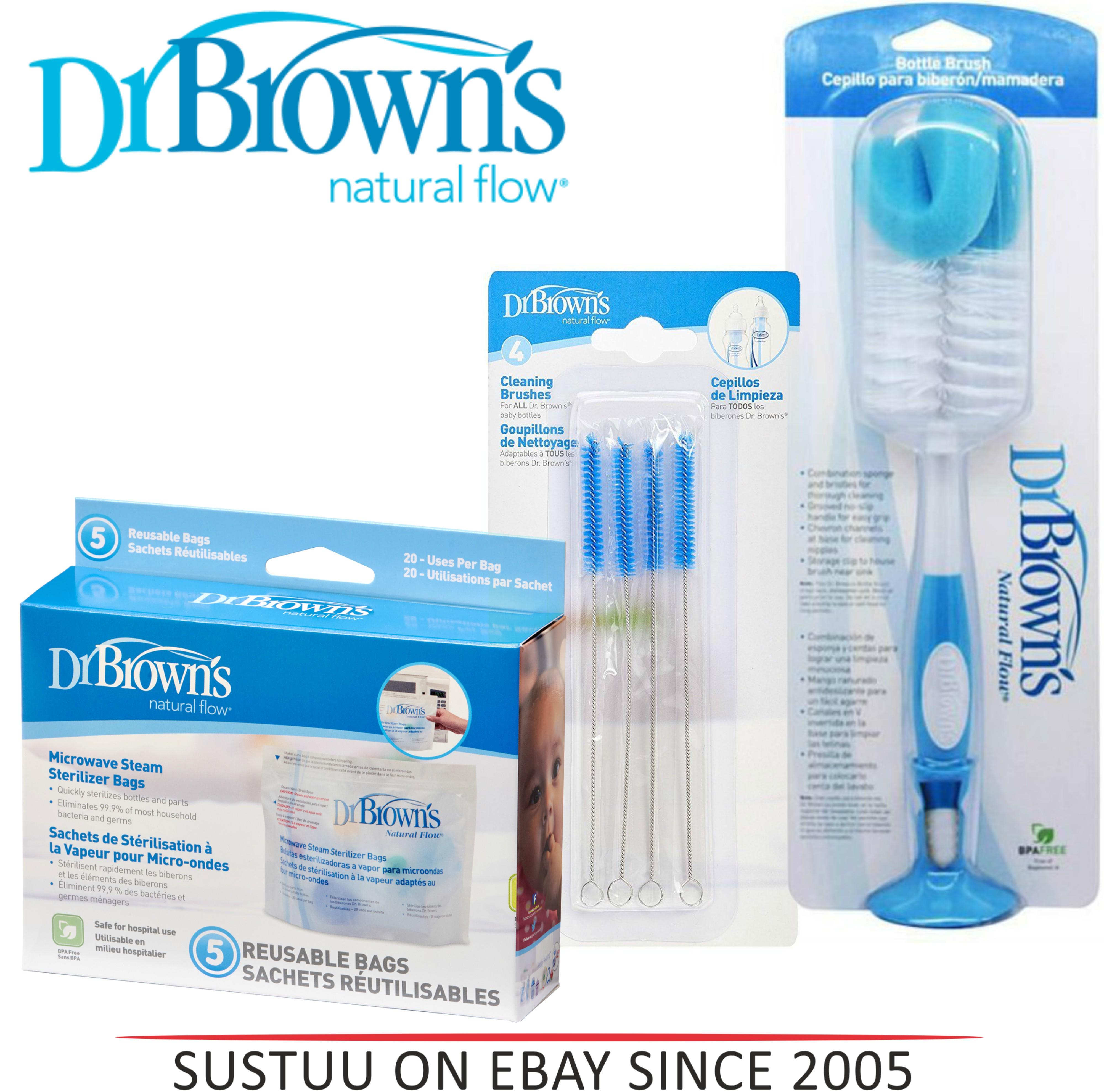 Dr Brown's Sterilizing Cleaning Bottle Brush/Teat Brush/ Microwave Steam Bag