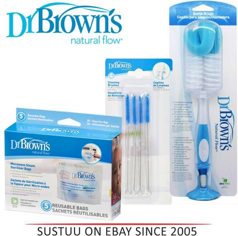 Dr Brown's Sterilizing Cleaning Bottle Brush/Teat Brush/ Microwave Steam Bag Thumbnail 1