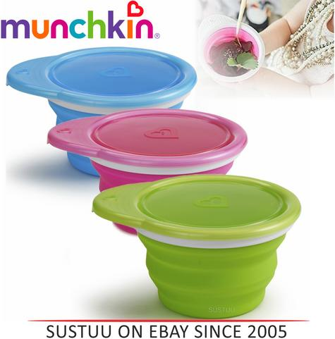 Munchkin Go Silicone Baby Weaning Feeding Snack Travel Bowl Seal Proof Container Thumbnail 1