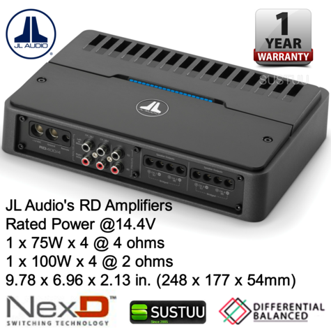 JL Audio RD400/4 4 Ch. Class D Full-Range Car Amplifier 400W  with NexD? tech  Thumbnail 7
