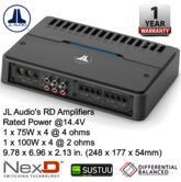JL Audio RD400/4 4 Ch. Class D Full-Range Car Amplifier 400W  with NexD? tech