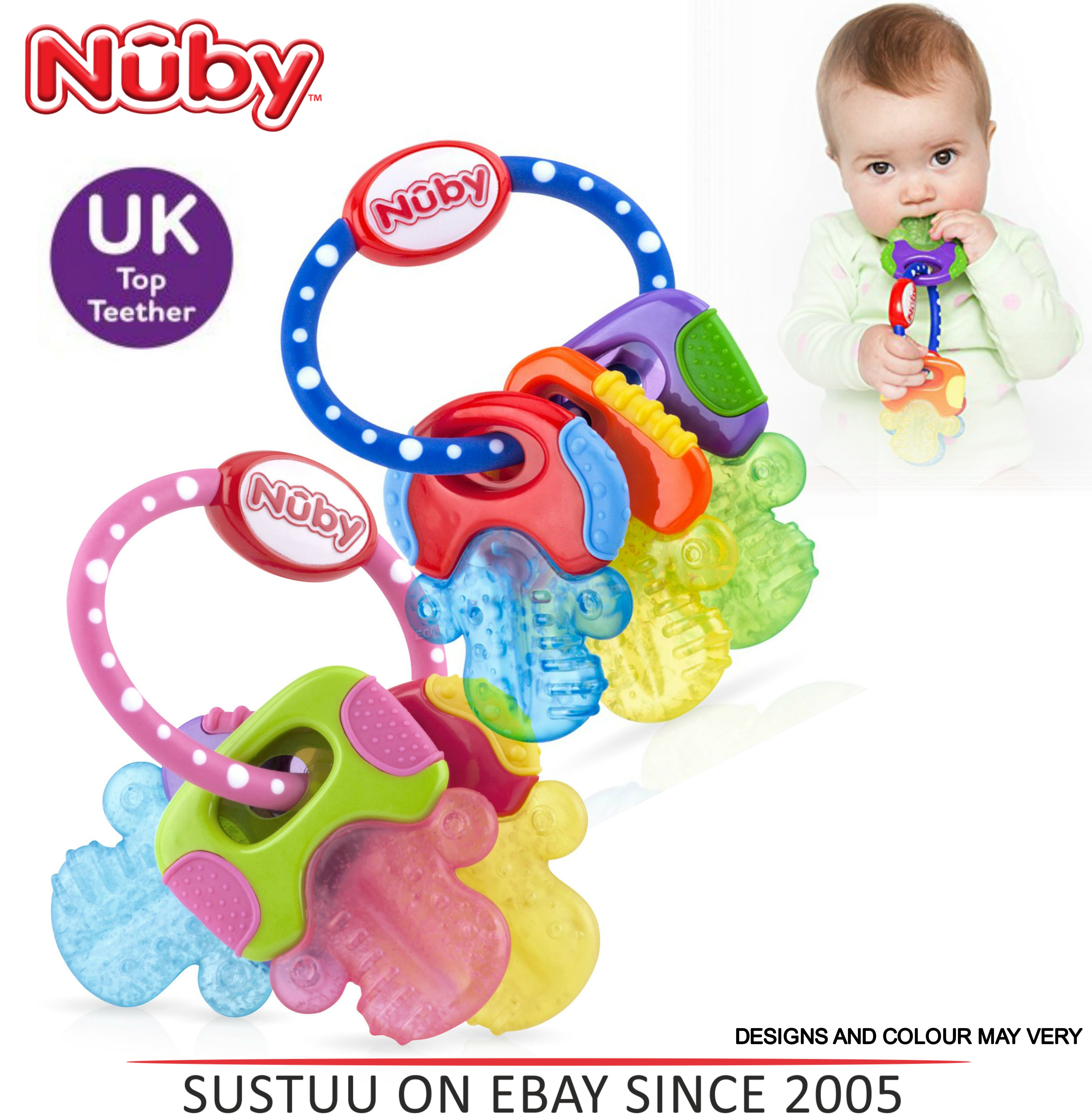Nuby Icy Bite Keys Teether Non-toxic Pacifier Early Baby Teething Toy BPA Free