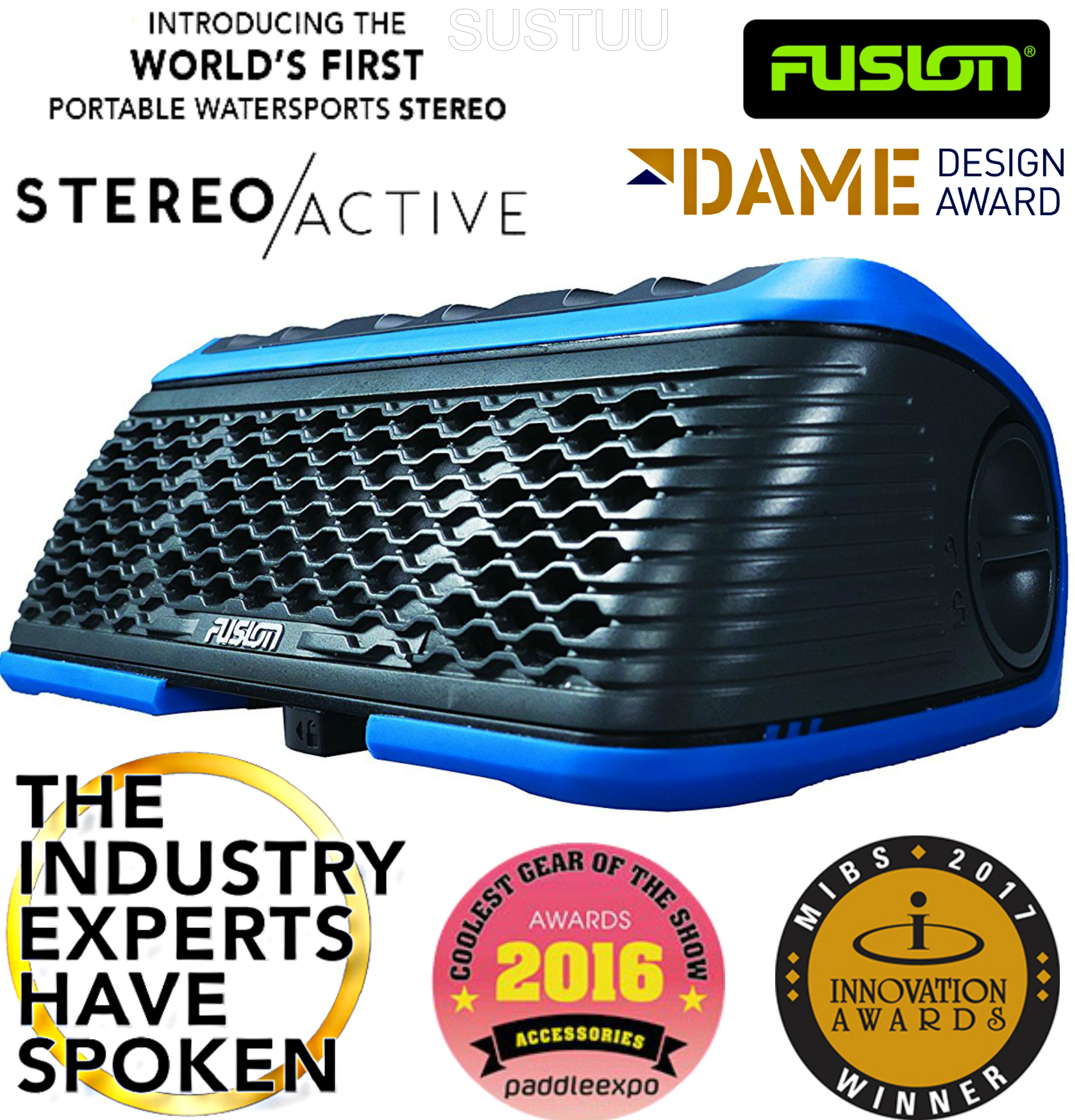 Fusion StereoActive Portable Floating Bluetooth Speaker|USB/AM/FM/iPhone|IPx7|Blue