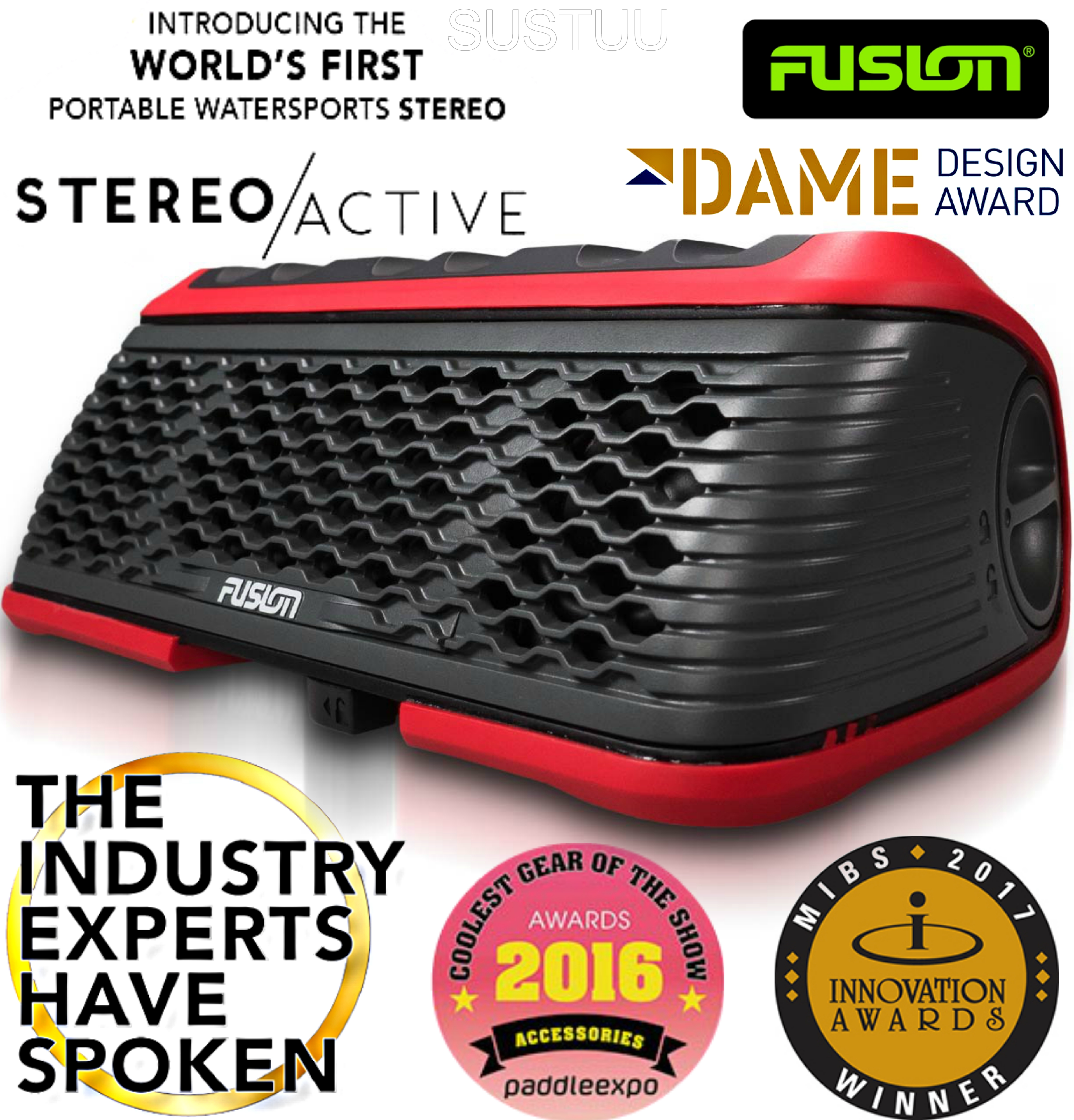 Fusion StereoActive Portable Floating Marine Bluetooth Speaker|USB/AM/FM/iPhone|IPx7|Red