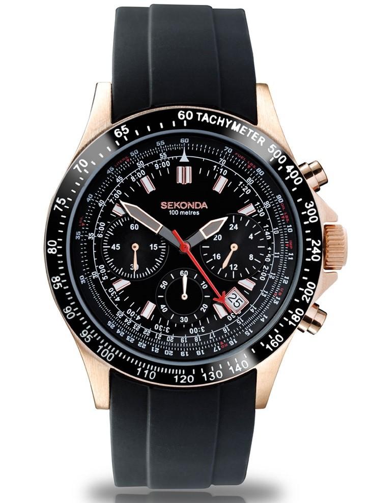 bcda74e1c Sekonda Men's Black Dial Chronograph Black Silicone Strap Watch 3101 |  Sustuu