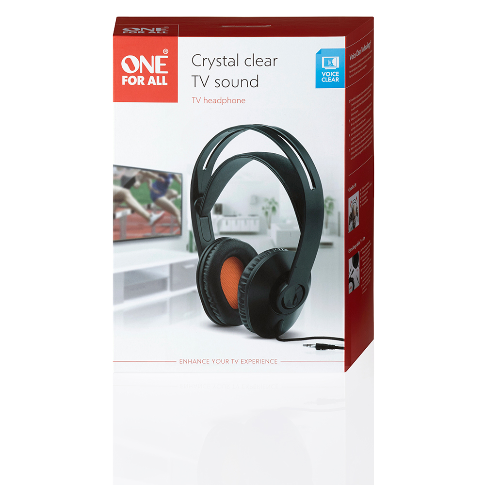 One For All Wired TV Headphones|Adjustable Headband|External Noise ...