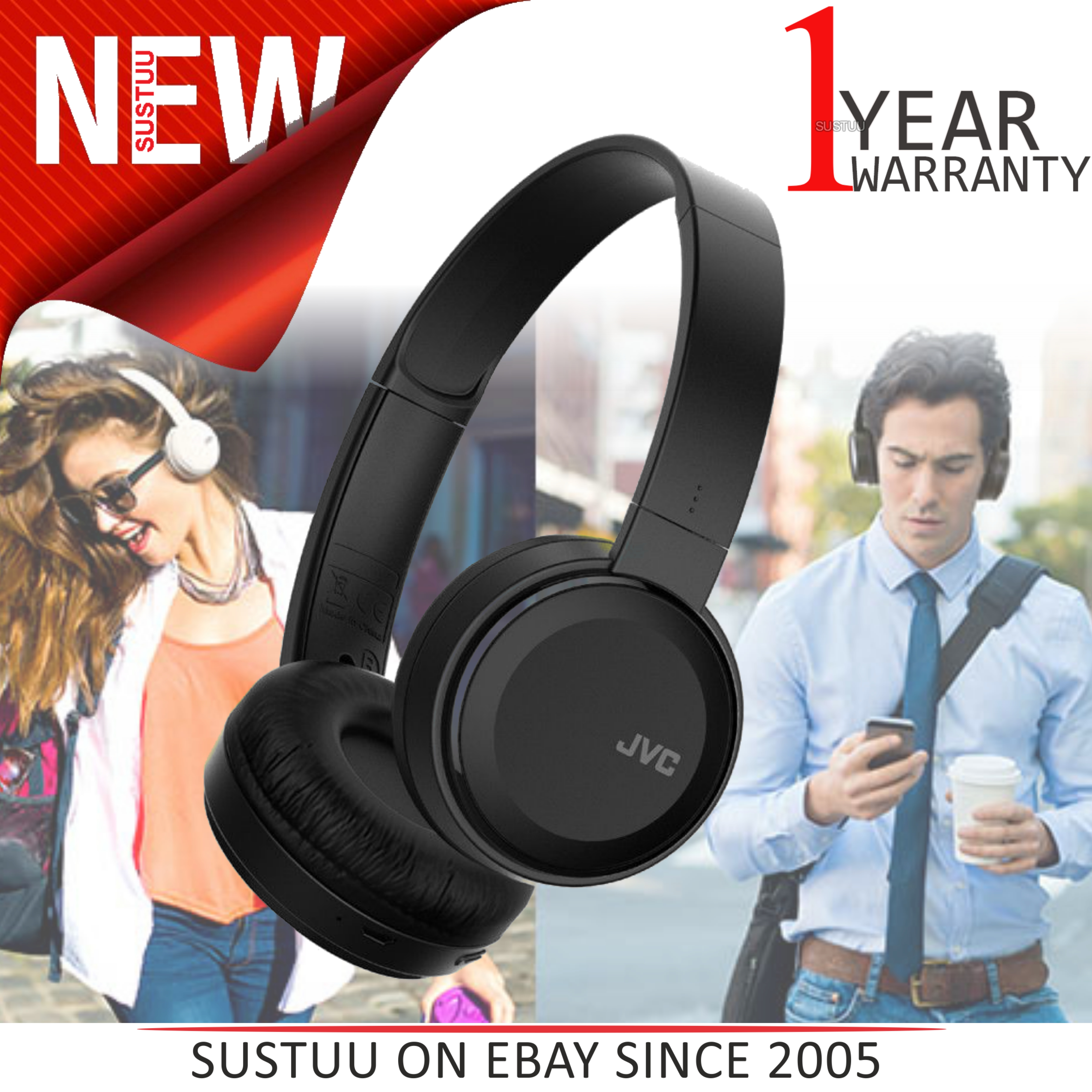 7bbd4baff63 Details about JVC HAS30BTBE Deep Bass On Ear Headphones│Wireless│Bluetooth │Foldable│Black│NEW