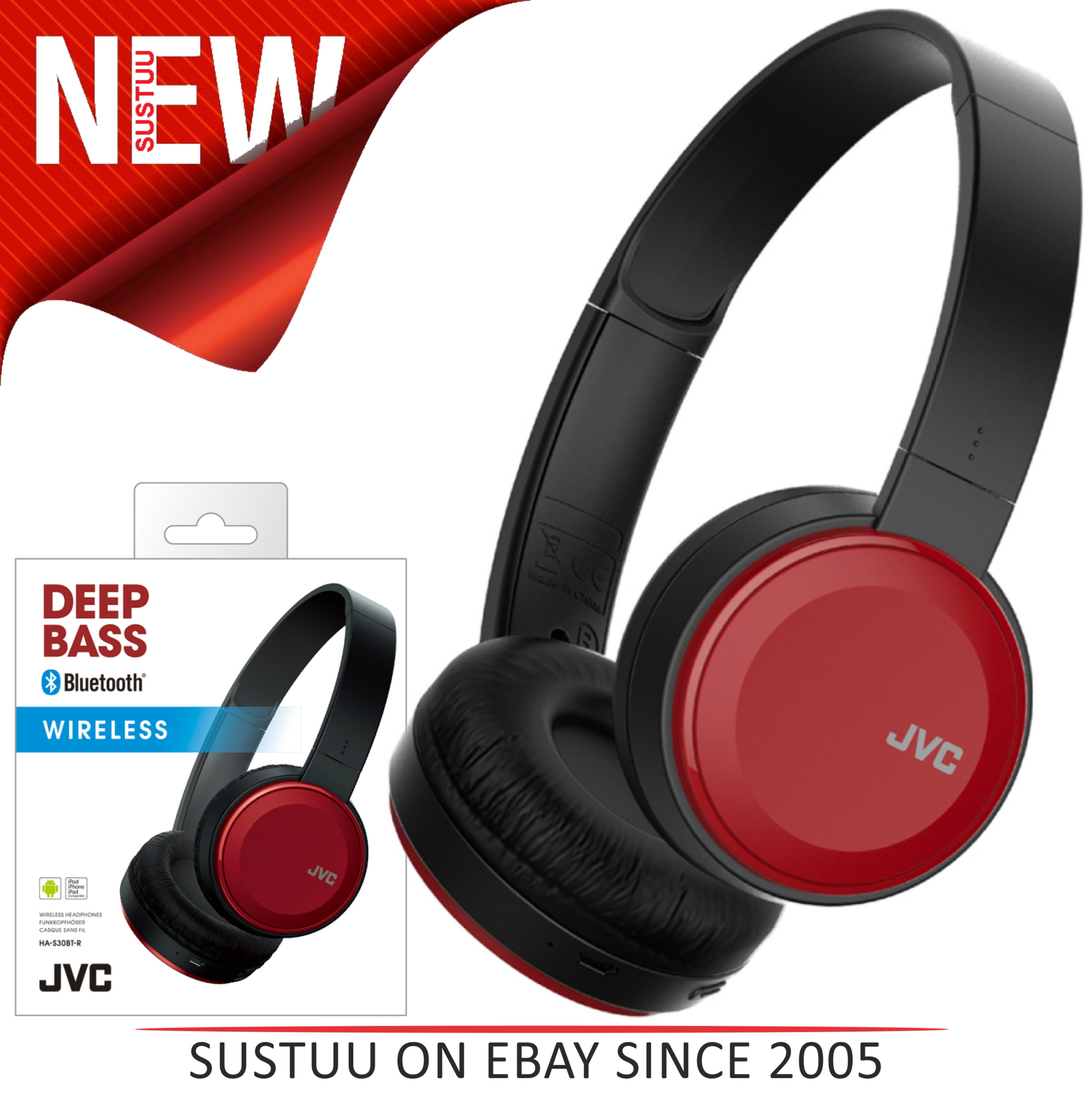 faf68a78c81 Details about JVC HAS30BTRE Deep Bass Wireless Bluetooth Foldable On Ear  Headphones - Red