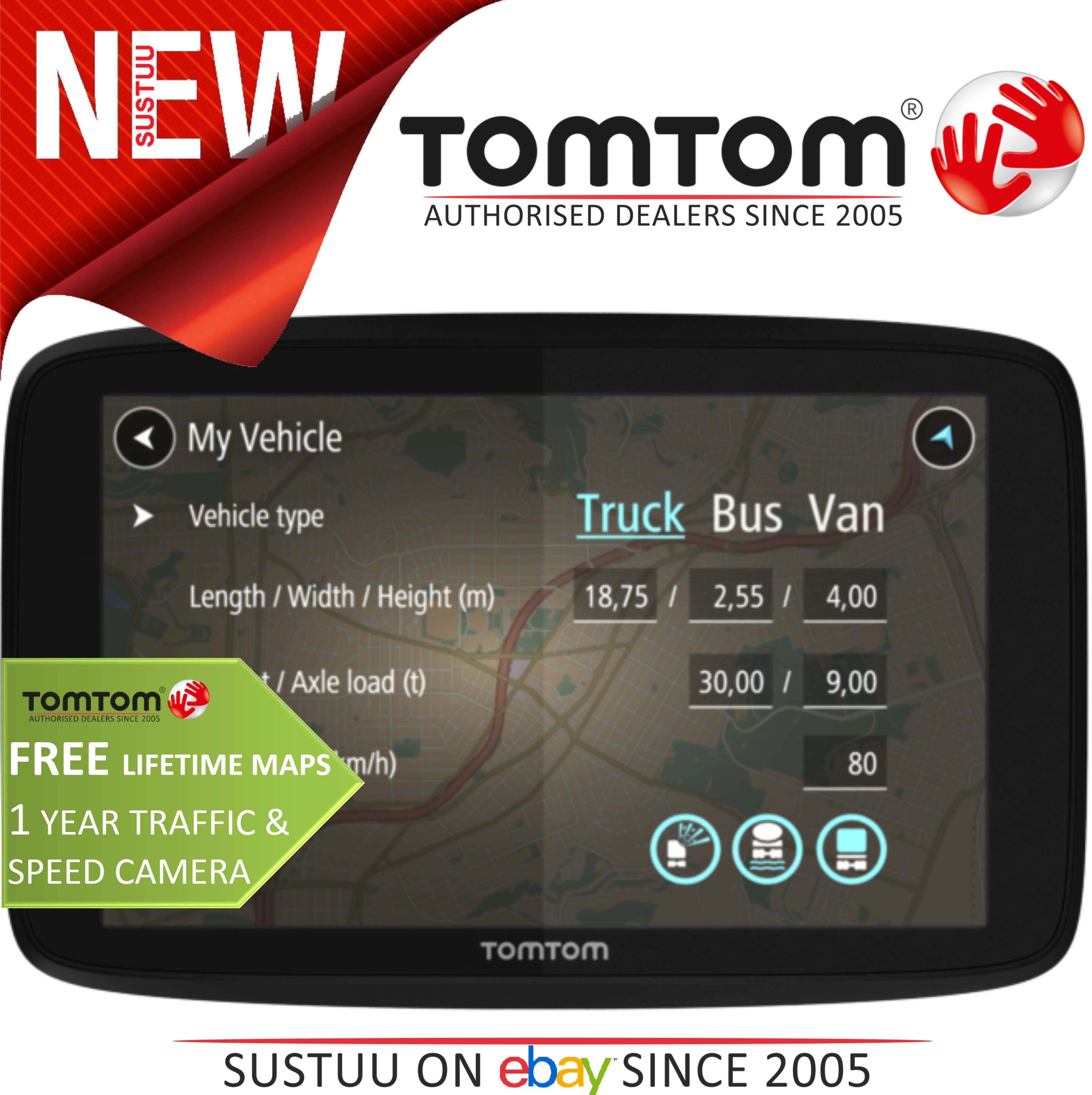 new tomtom go professional 6200 eu trucker gps satnav. Black Bedroom Furniture Sets. Home Design Ideas