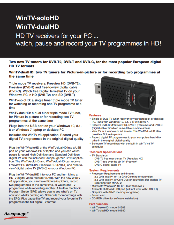 Hauppauge WinTV-Solo HD|Triple Mode USB TV [Television