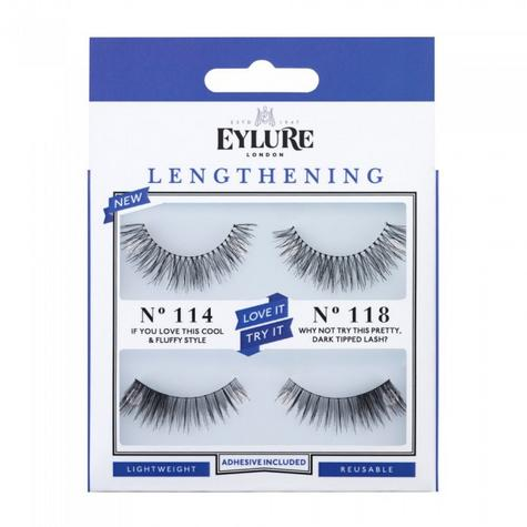 Eylure Duo Kit Lengthening 118/114 Ladies Adhesive Easy Reusable  Eyelashers Thumbnail 1
