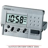 Casio PQ10D-8REF Digital Pocket SizeTravel Bedside Clock|Alarm|Snooze|LED|Silver