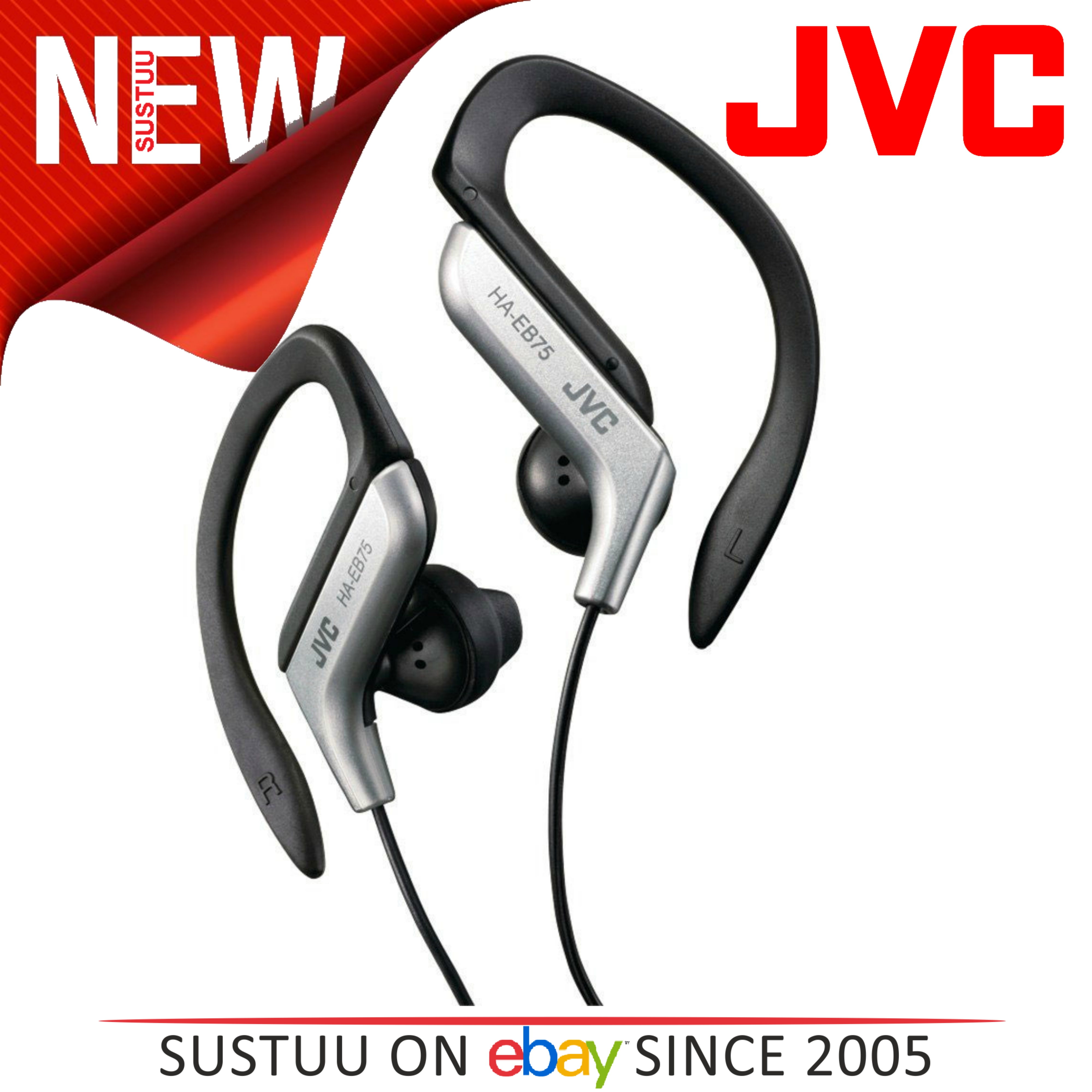 JVC HAEB75S Gym Jogging Running Splash Sweat Proof Adjustable Ear Clip Earphones