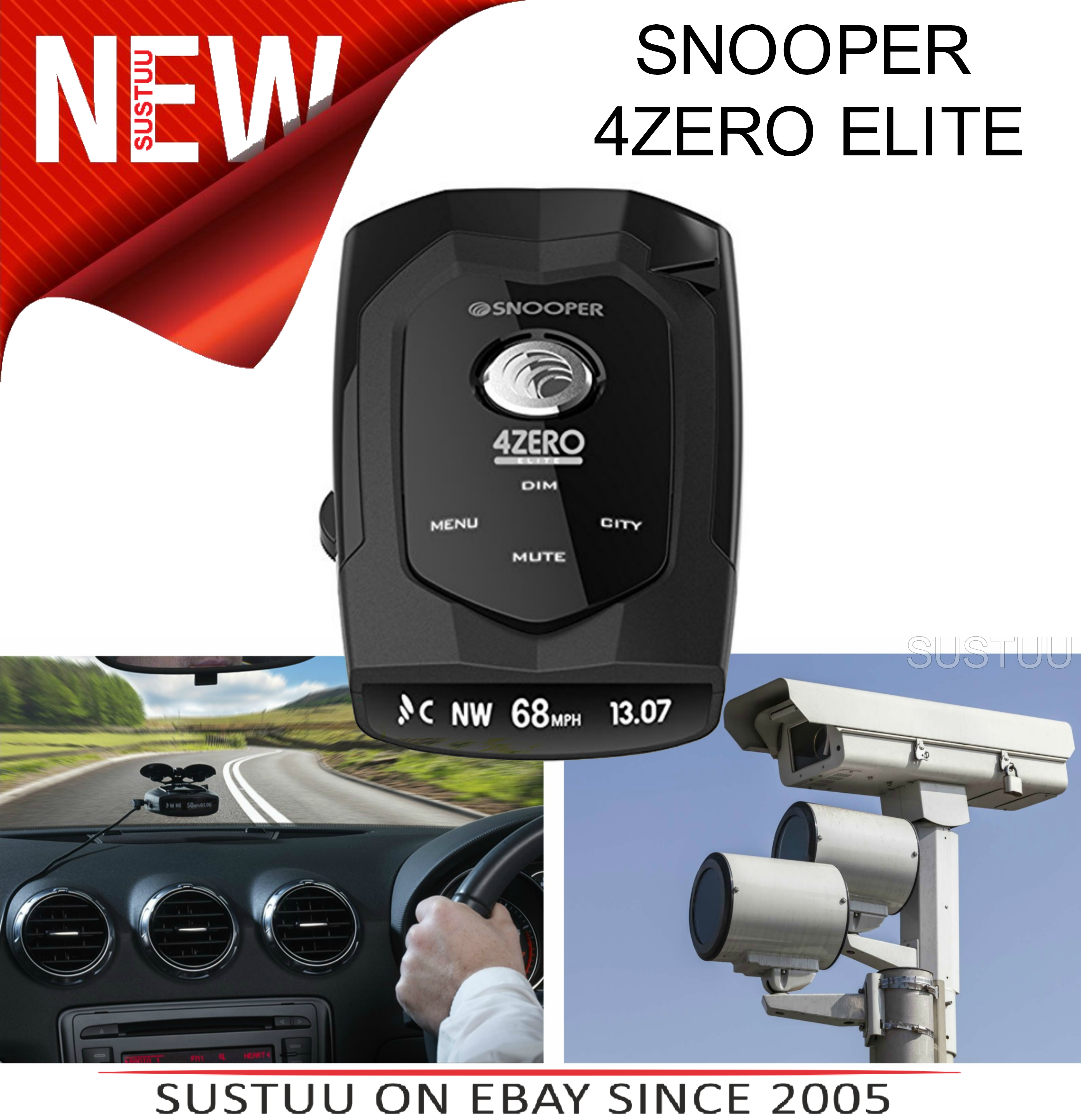 Snooper 4ZERO Elite Speed Camera Detector GPS /RADAR/LASER Voice & Display Alert