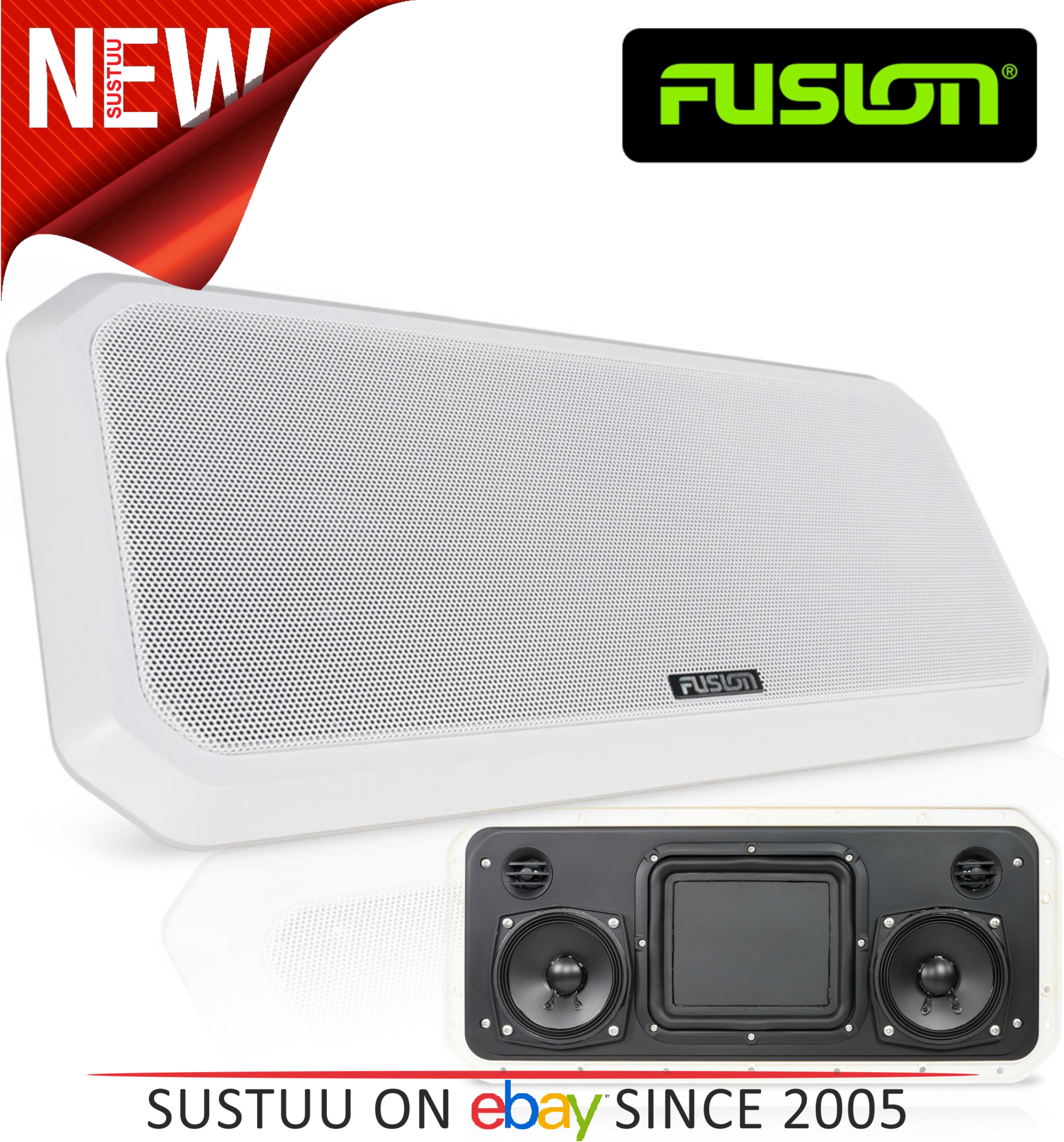 Fusion RV-FS402W IP65 Weatherproof Speaker System for Marine Boat Yacht - WHITE