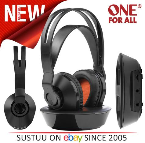 One For All HP1030 Rechargeable Wireless TV Headphones - 8-12 Hours Battery Time Thumbnail 1