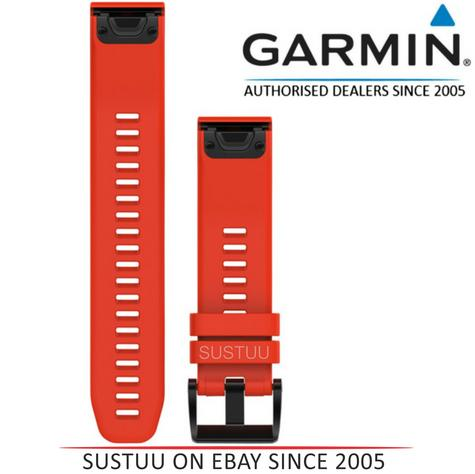 Garmin 010-12496-03?Quickfit 22Flame Watch Band?Approach S60/Fenix5?Red Silicone Thumbnail 1