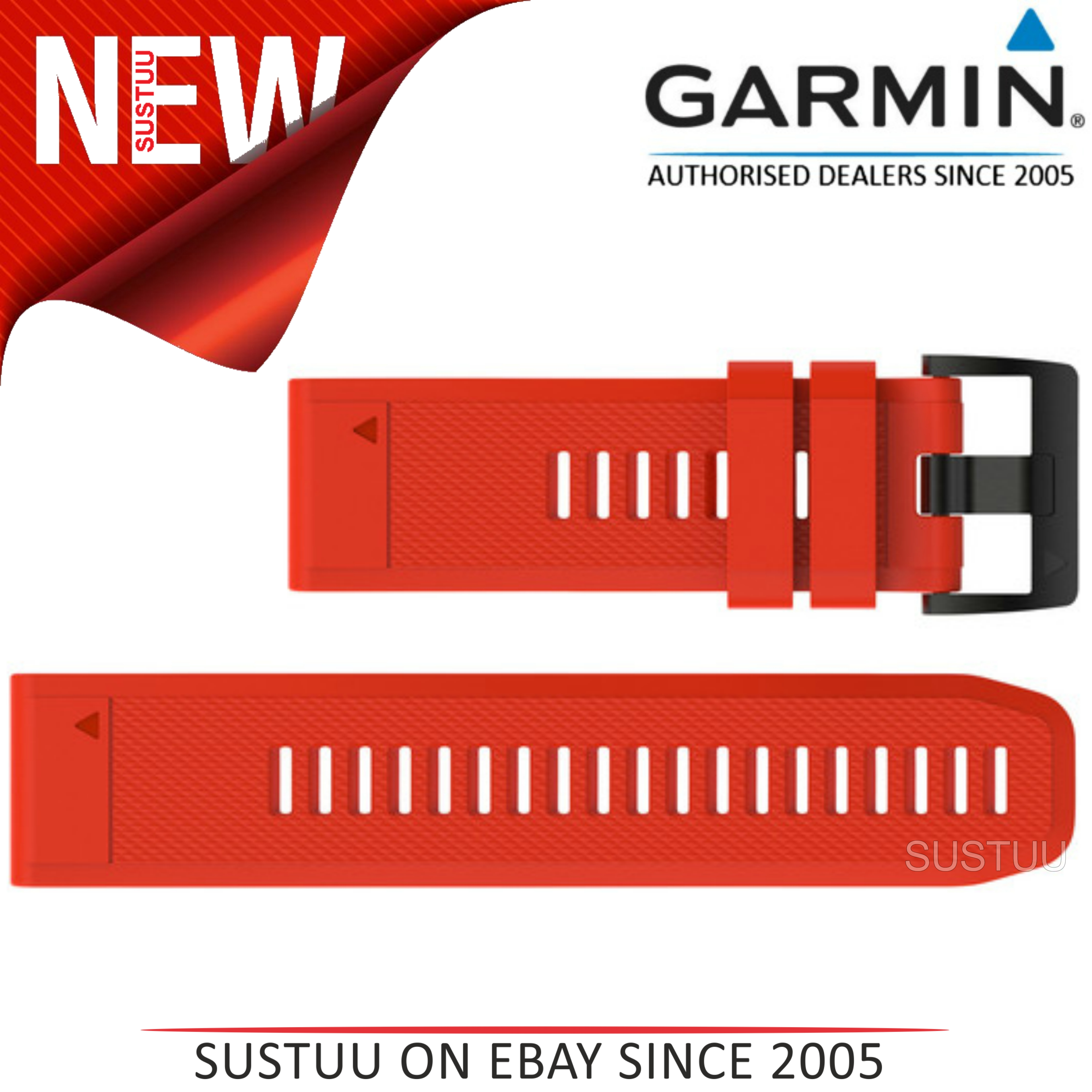 Garmin Quickfit 26mm Watch Strap/Band?Fenix 3 Sapphire-Sapphire HR?Red Silicone