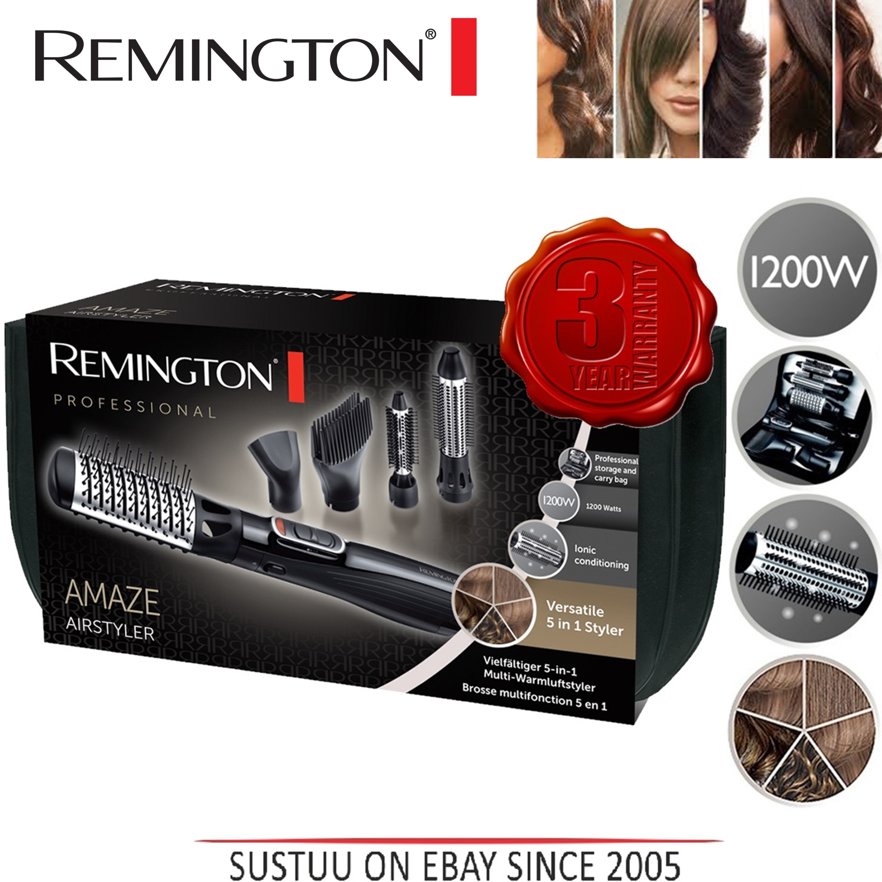 Remington Amaze Smooth & Volume 5 in 1 Hot Air Hair Brush Airstyler AS1220 New