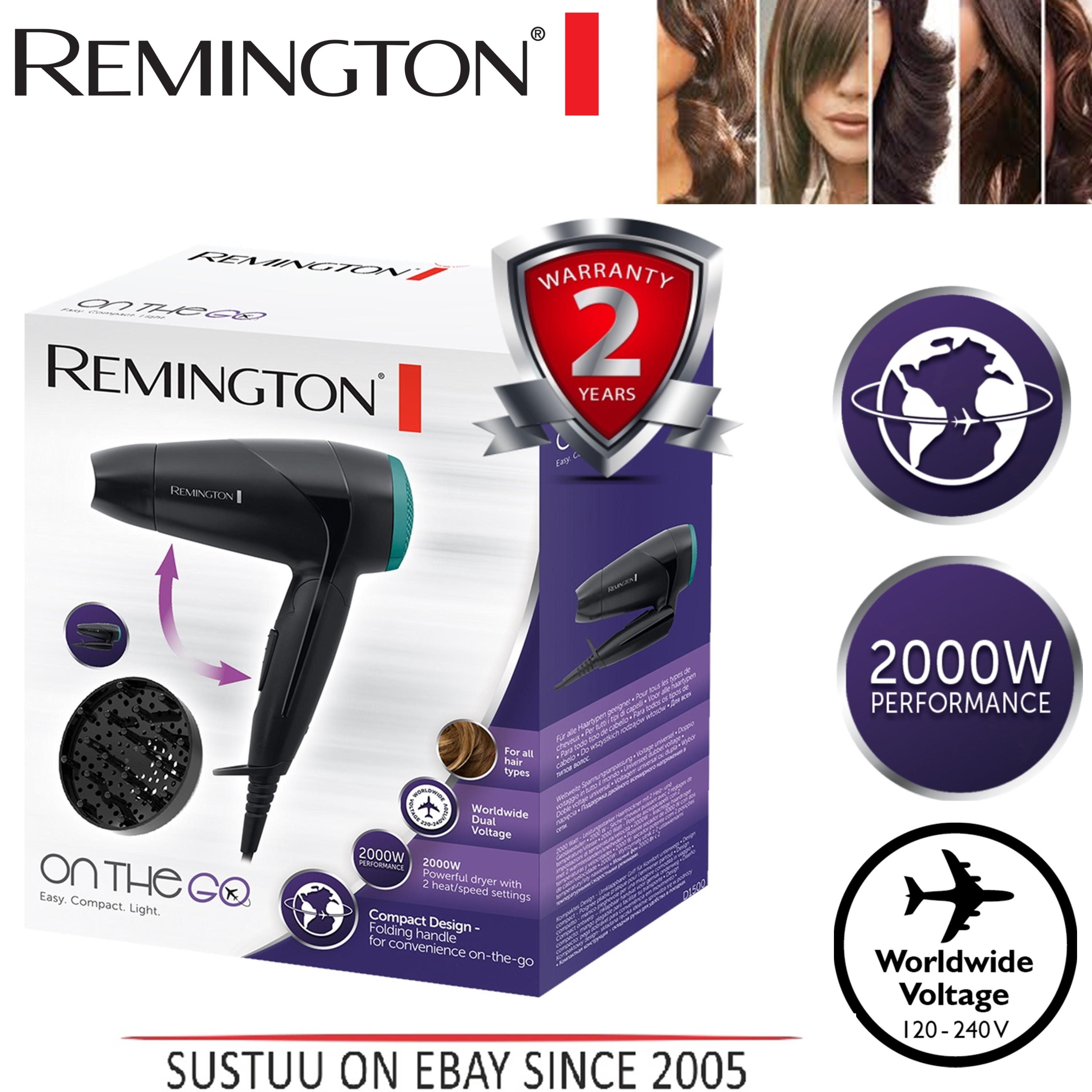 Remington D1500 Travel Hair Dryer Compact Diffuser Folding Handle 2000W Styler