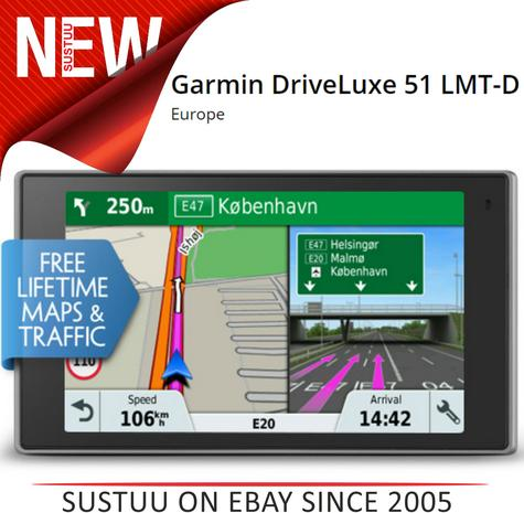 Garmin DriveLuxe 51 LMT-D GPS Satnav FREE LIFETIME Europe Maps & Traffic Updates Thumbnail 1