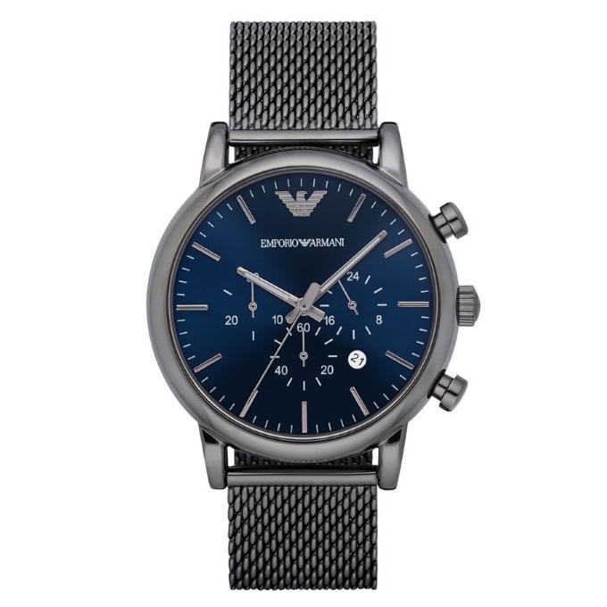 Emporio Armani Luigi Men's Gunmetal Mesh Steel Strap Chronograph Watch AR1979