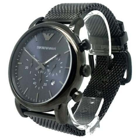 Emporio Armani Luigi Men's Gunmetal Mesh Steel Strap Chronograph Watch AR1979 Thumbnail 4