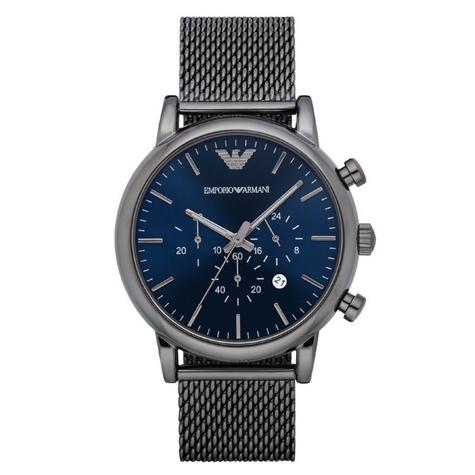 Emporio Armani Luigi Men's Gunmetal Mesh Steel Strap Chronograph Watch AR1979 Thumbnail 1