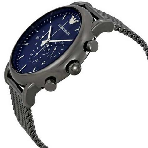 Emporio Armani Luigi Men's Gunmetal Mesh Steel Strap Chronograph Watch AR1979 Thumbnail 2