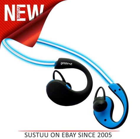 Groov-e GVBT800BE Action Wireless Bluetooth Sports Headphones/LED Neckband/Blue Thumbnail 1