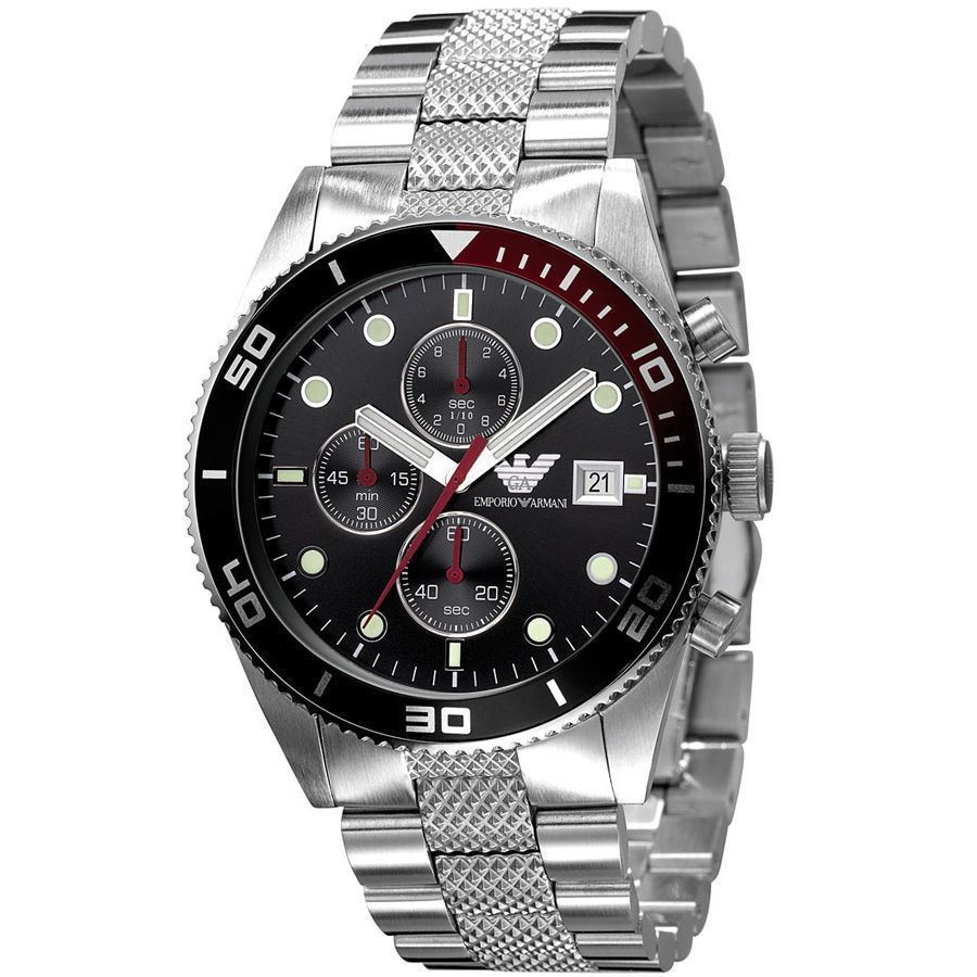 Emporio Armani Gent's Sport Stainless Steel Black Dial Chronograph Watch AR5855