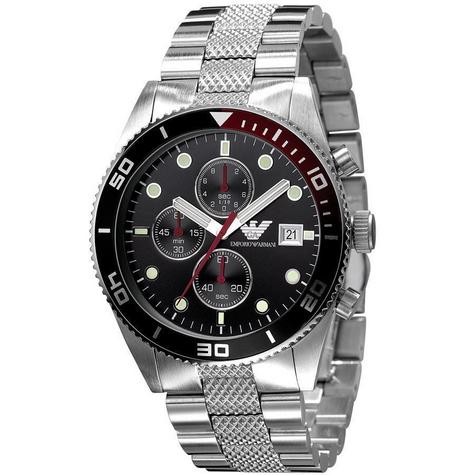 Emporio Armani Gent's Sport Stainless Steel Black Dial Chronograph Watch AR5855 Thumbnail 1
