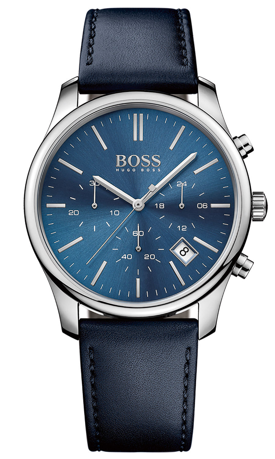 hugo boss gent 39 s time one blue leather strap sports chronograph watch 1513431 sustuu. Black Bedroom Furniture Sets. Home Design Ideas