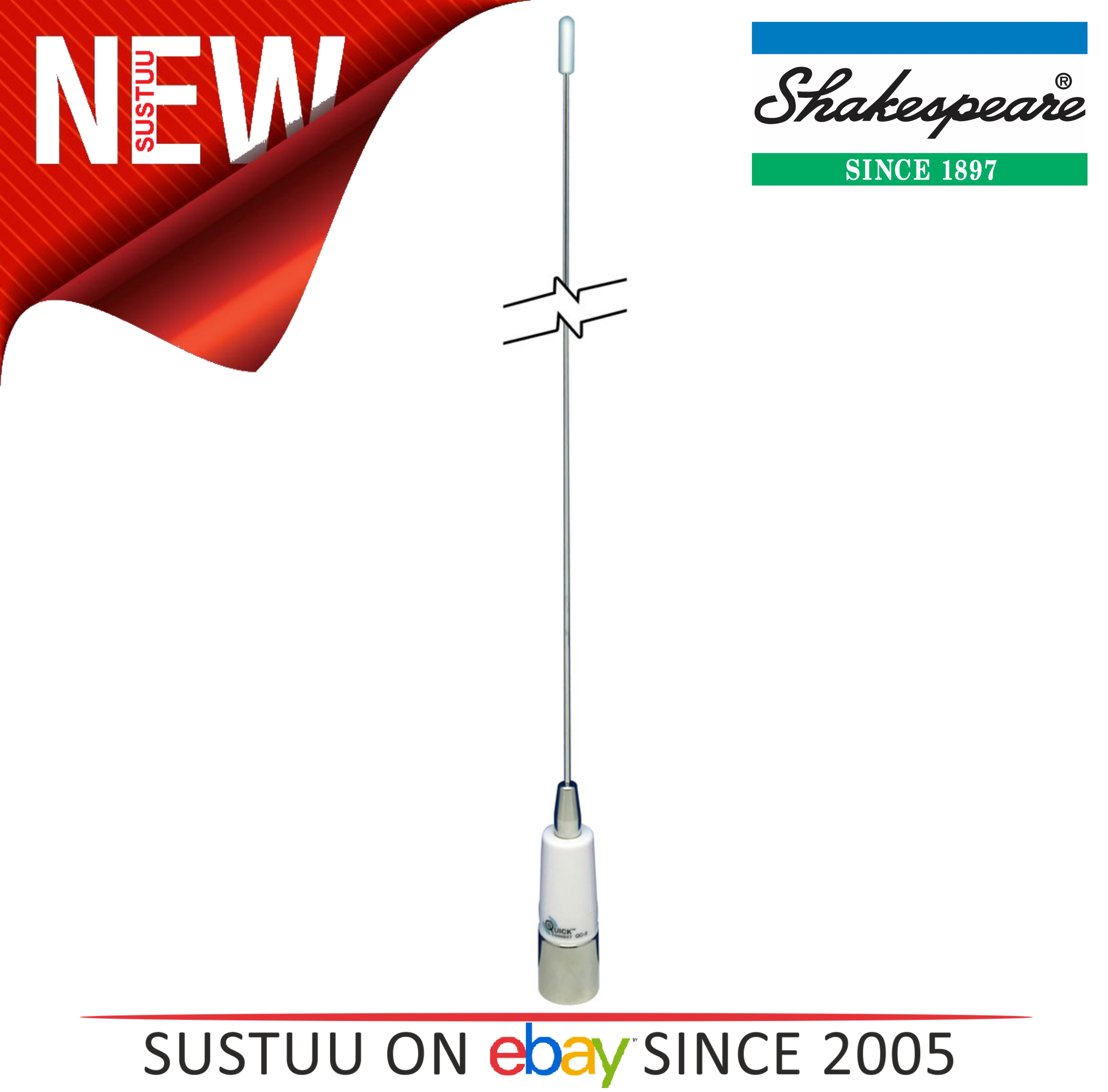 Shakespeare QuickConnect 3dB 0.9m SS Whip Chrome Ferrule | Use with QC Mount | QC-3