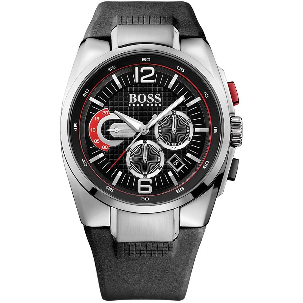 hugo boss men 39 s black silicone strap sport chronograph. Black Bedroom Furniture Sets. Home Design Ideas