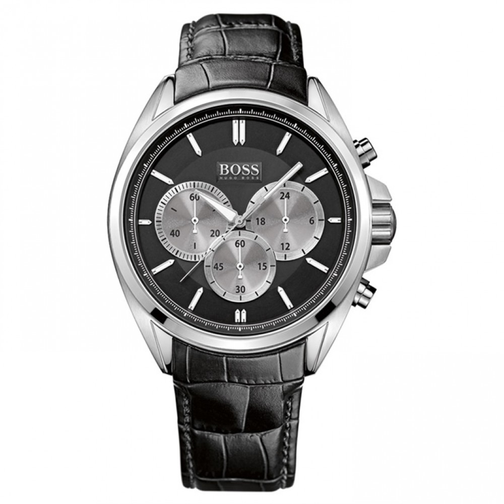 hugo boss gent 39 s black leather strap sports chronograph. Black Bedroom Furniture Sets. Home Design Ideas