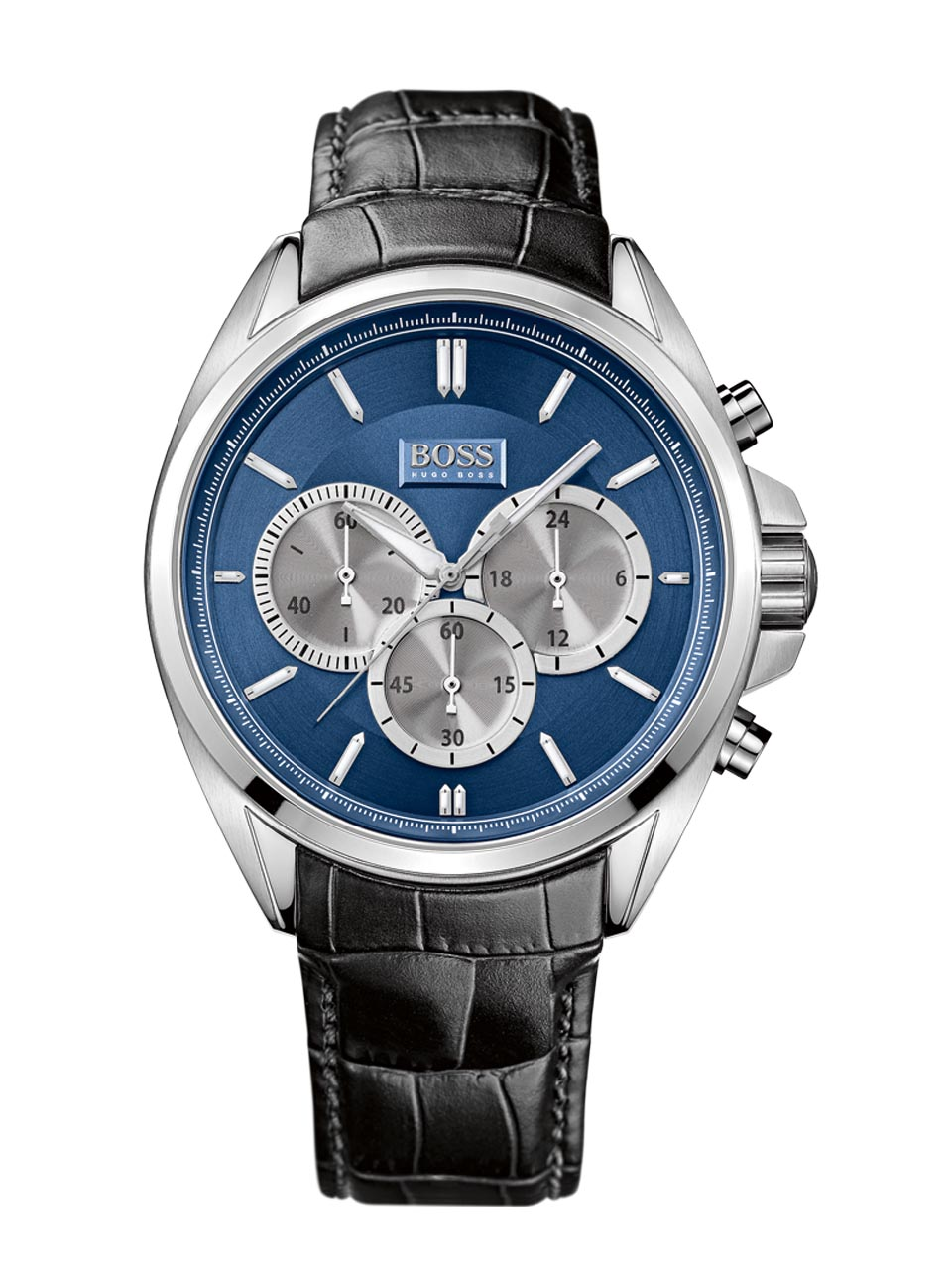 hugo boss gent 39 s blue dial black leather strap sports chronograph watch 1512882 sustuu. Black Bedroom Furniture Sets. Home Design Ideas