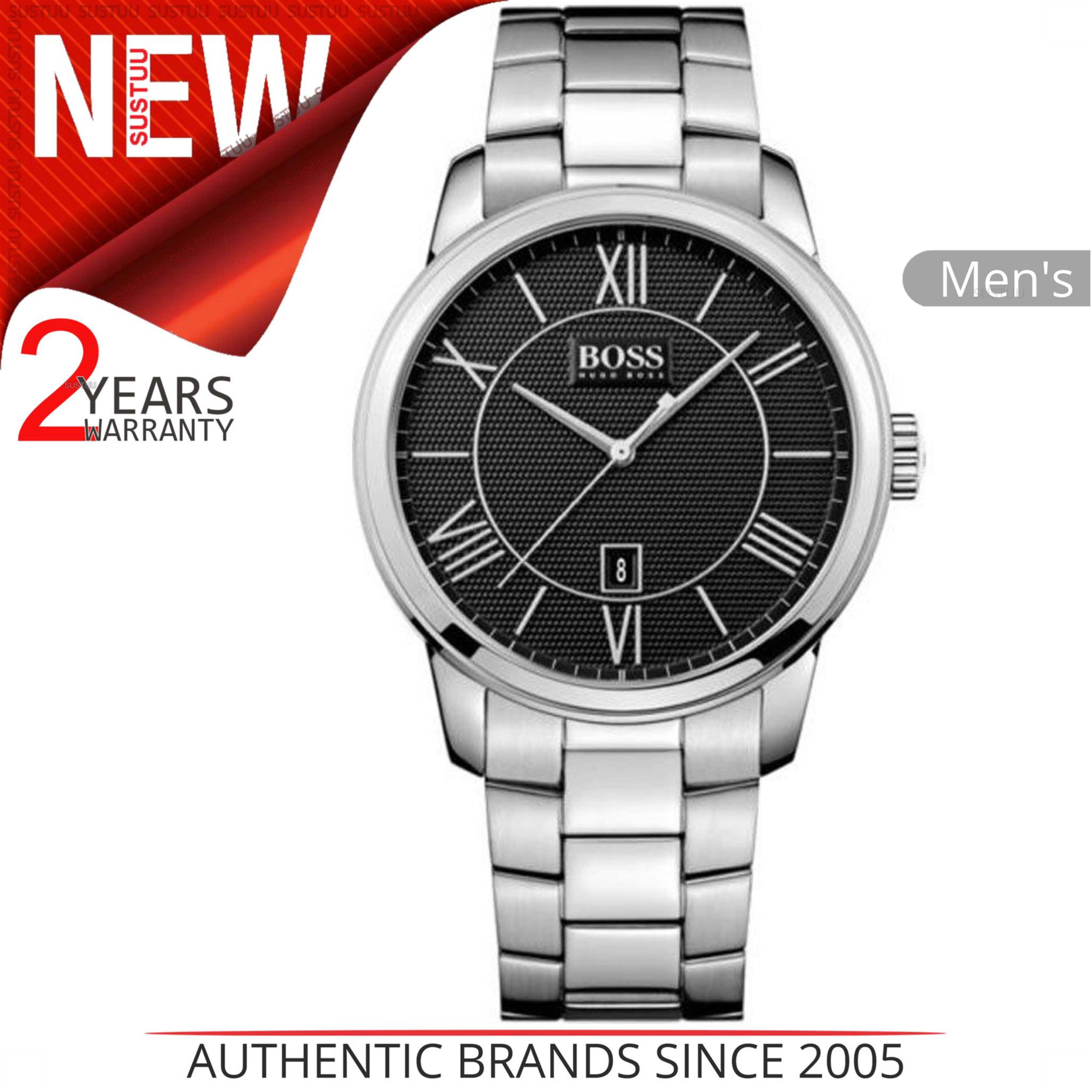 51a30f21a7b4 Sentinel Hugo Boss Classic Men s Formal Watch│Black Dial│Silver Tone  Bracelet│HB1512977