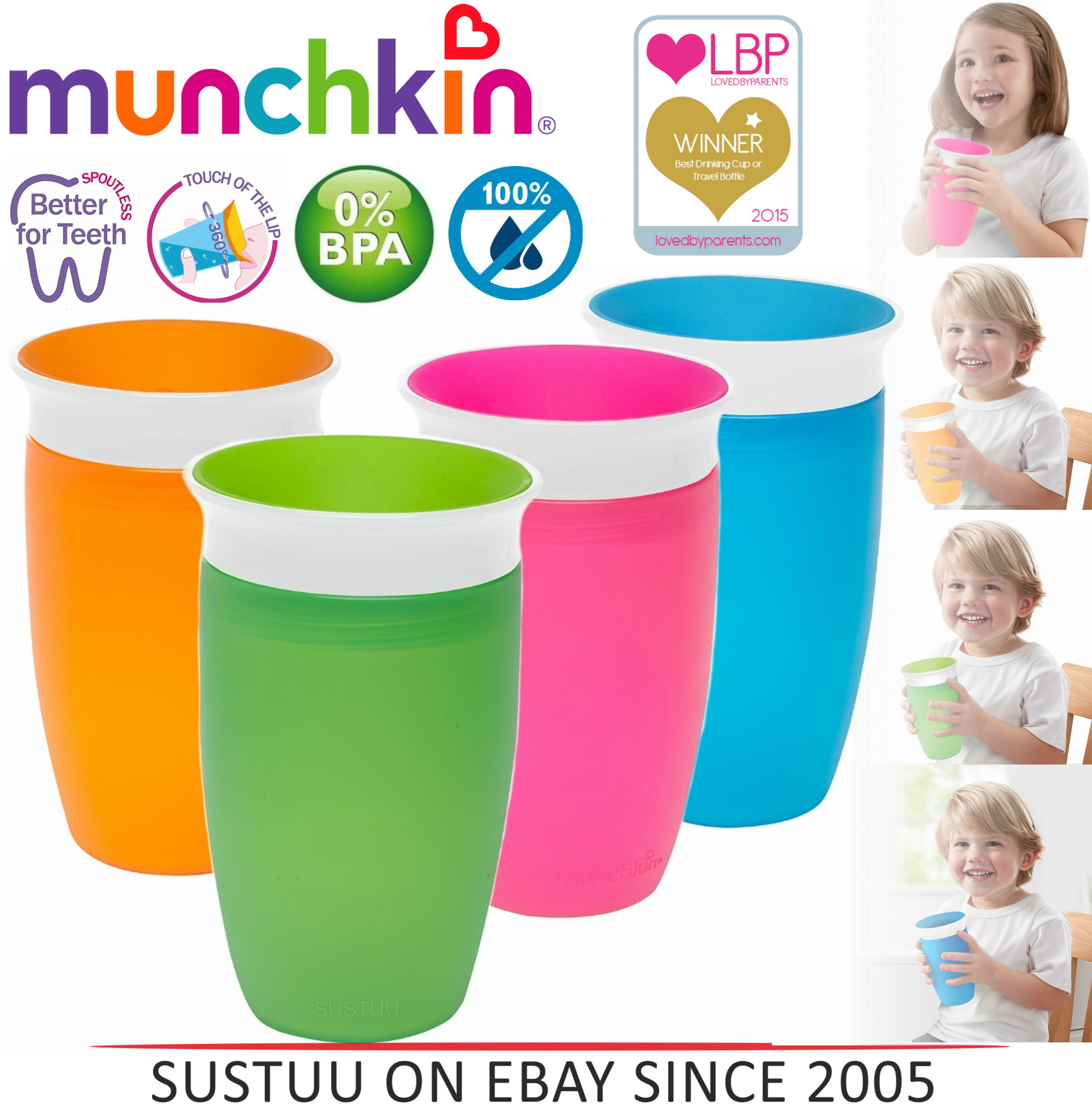 Munchkin Miracle Non-Spill 360 Degree Seal Proof Valve Toddler Sippy Cup 296ml