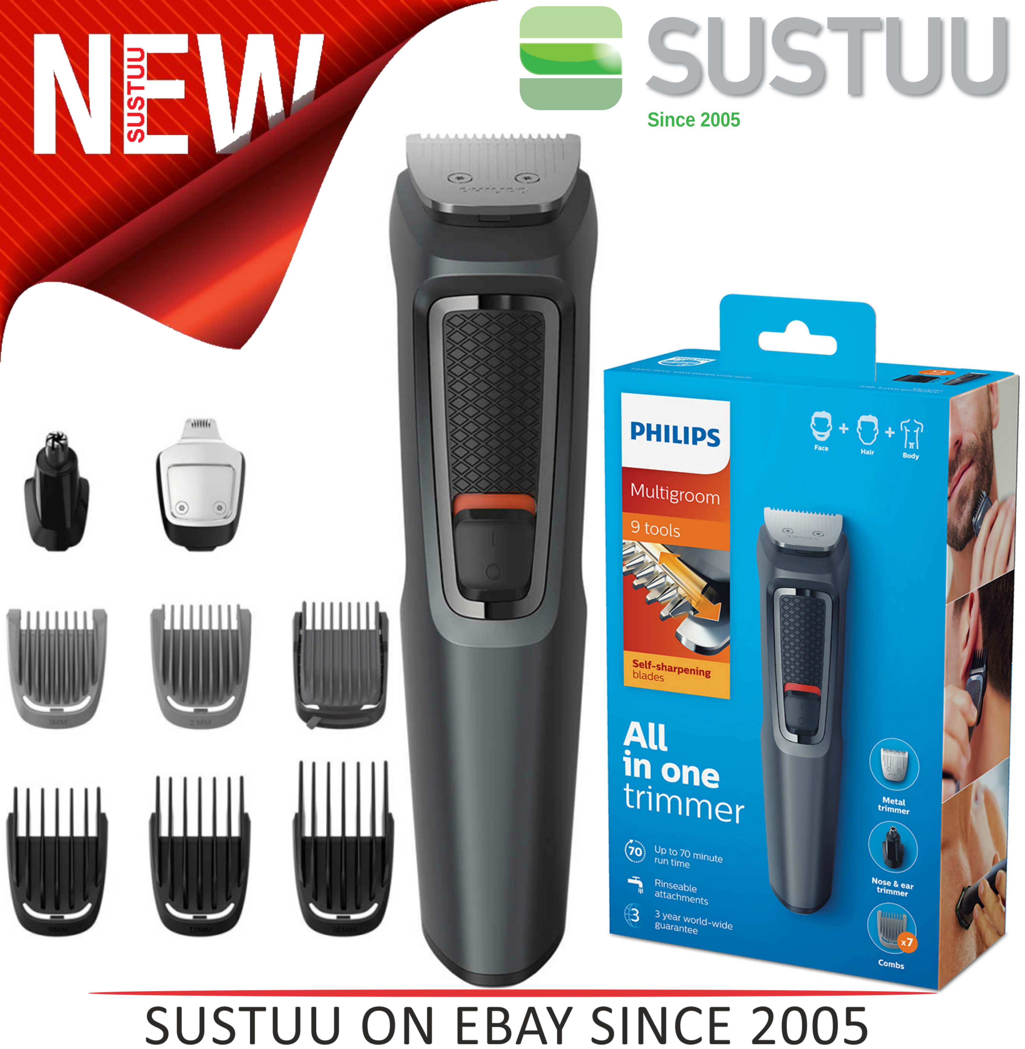Philips 9 in 1 Multigroom?Face?Nose?Body?Hair?Trimmer Clipper Set?MG3747/13?NEW?