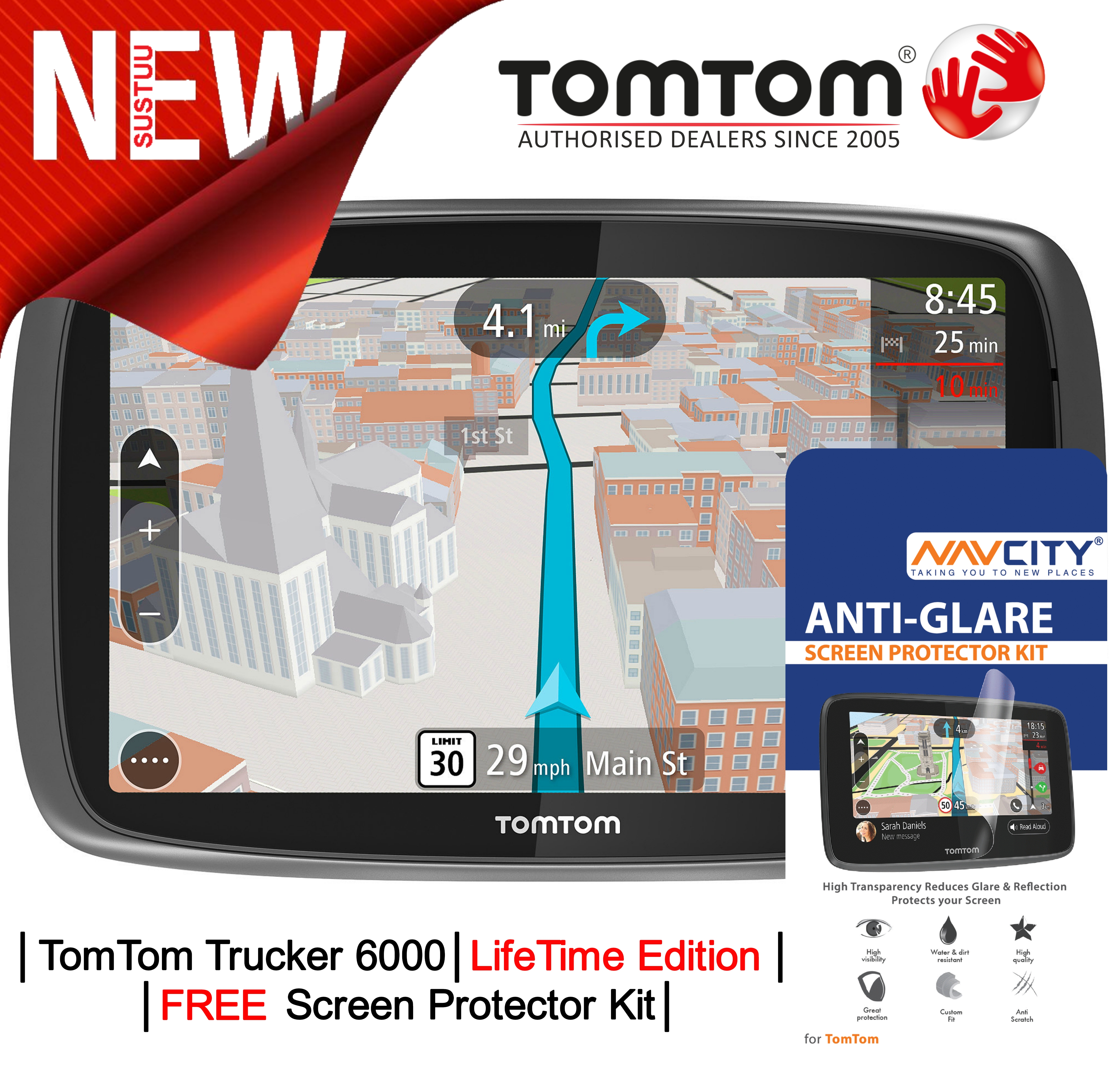 TomTom Trucker 6000 LIFETIME UK & Full Europe Maps Edition?GPS SatNav?Traffic